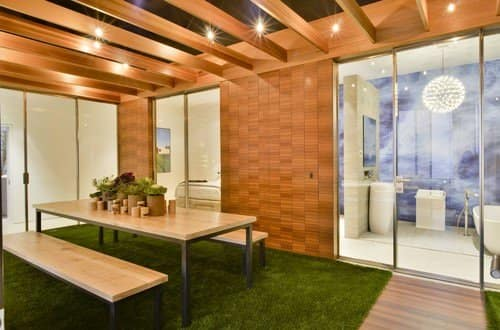 Artificial grass is becoming popular as carpets or rugs.