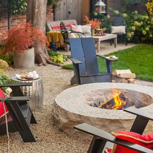 Chairs around a fire pit
