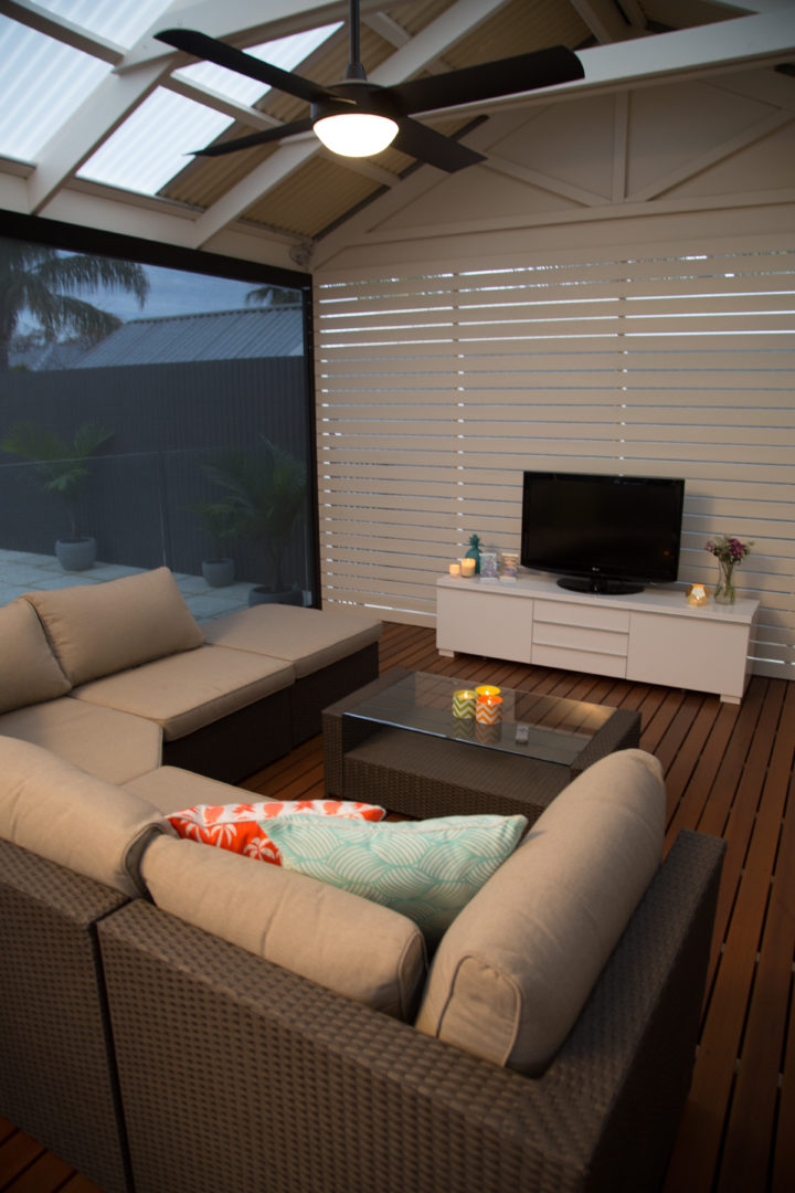 Five great ideas to help you enjoy winter in your backyard - Gather some cosy furnishings, Australian Outdoor Living.