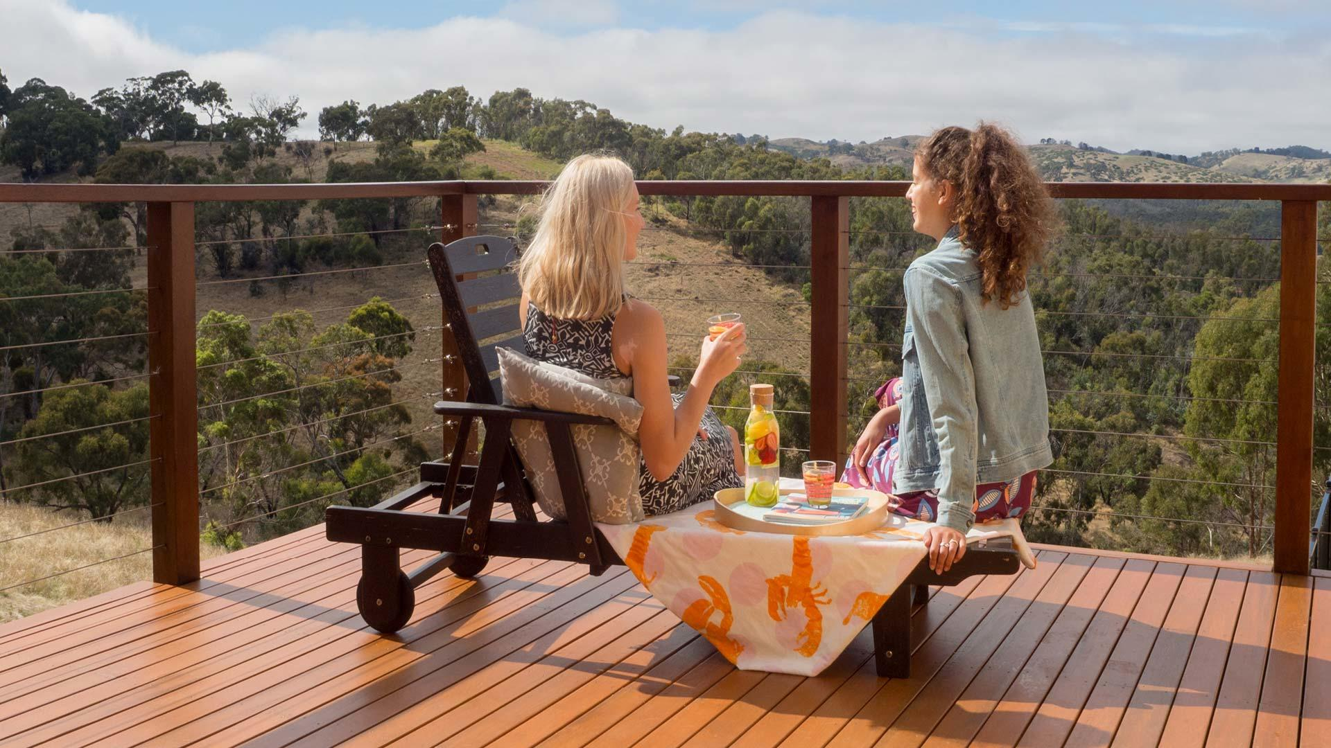 Timber decking: a great solution for a sloping backyard - Make the most of your view with a timber deck, Australian Outdoor Living.