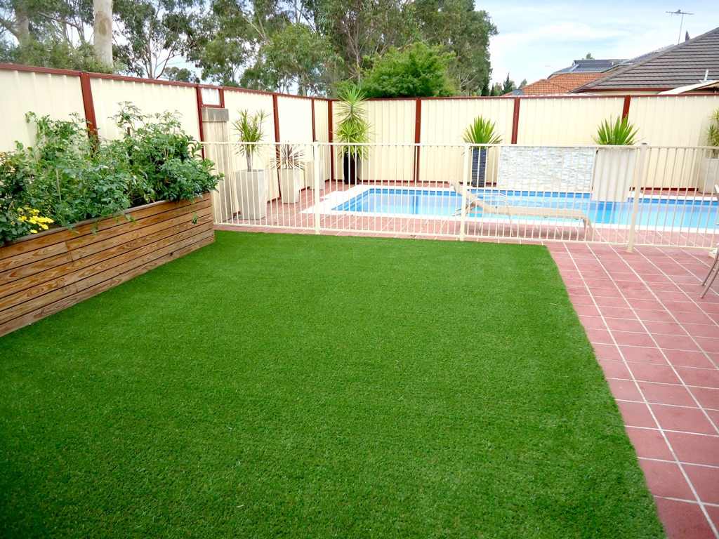 Artificial lawn: FAQs answered by the experts - Artificial grass looks great next to other backyard features, such as paving and a swimming pool, Australian Outdoor Living.